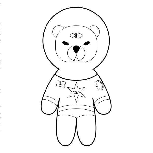 Раскраска_медведь_космонавт